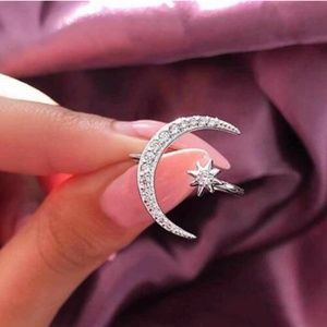 Real Sterling Silver Moon Star Diamond Ring